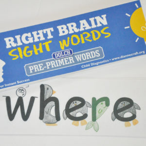 Right Brain Dolch Pre-Primer Sight Word Cards